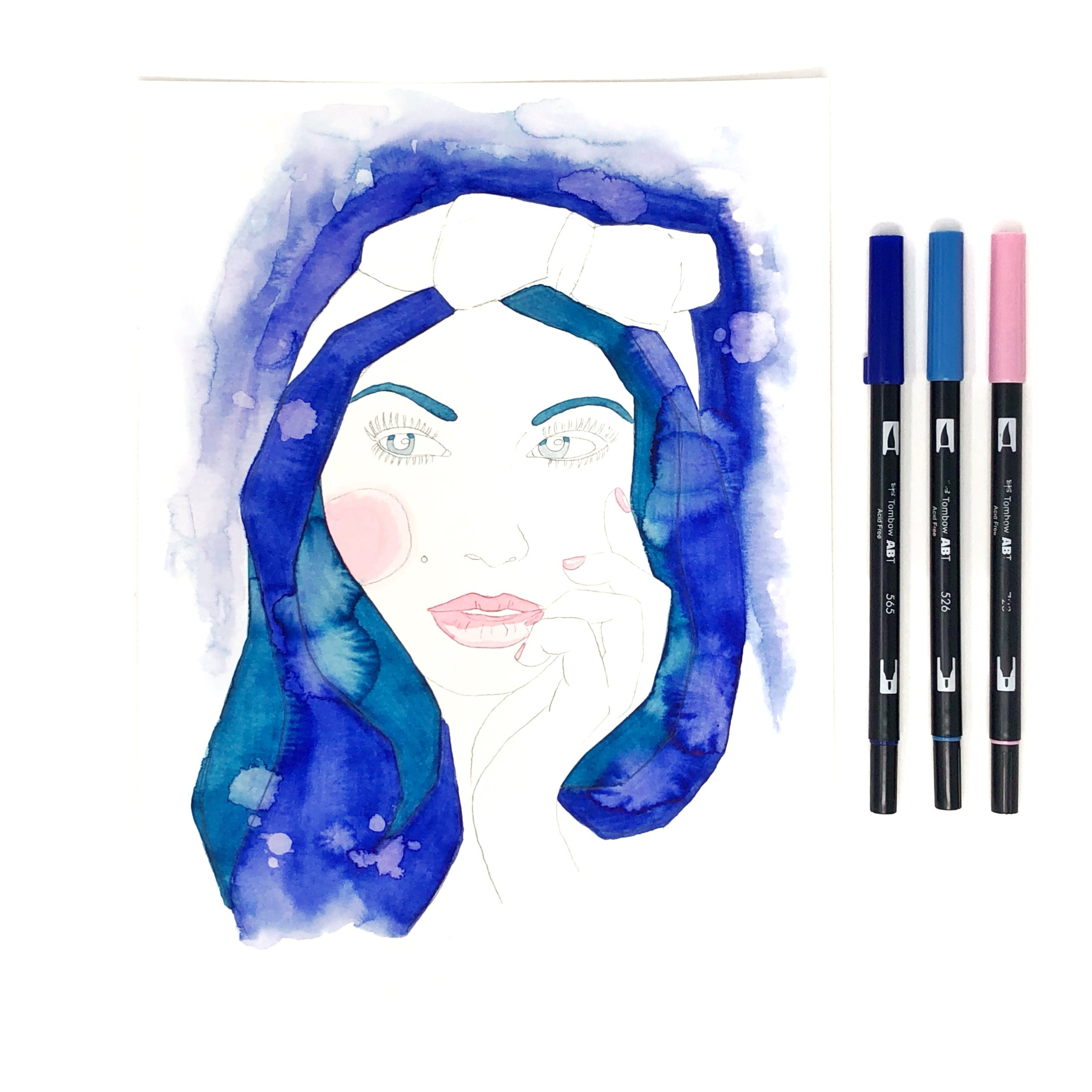 Re-doing a watercolor portrait from 2011 by Jessica Mack of BrownPaperBunny