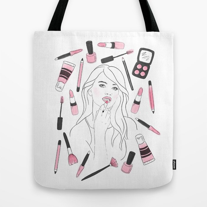 Make Me Up illustrated tote bag by Jessica Mack of BrownPaperBunny