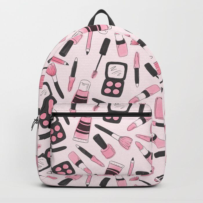 Make Me Up illustrated backpack by Jessica Mack of BrownPaperBunny