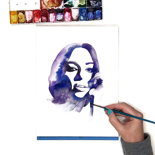 Another watercolor portrait in progress. I kind of love these one or two color paintings — I find them really challenging.