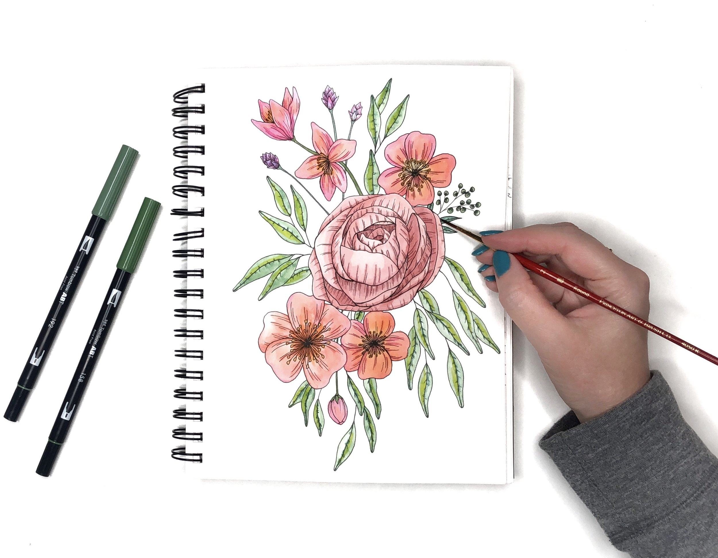 Watercolor Flowers Using Tombow Dual Brush Pens by Jessica Mack of BrownPaperBunny