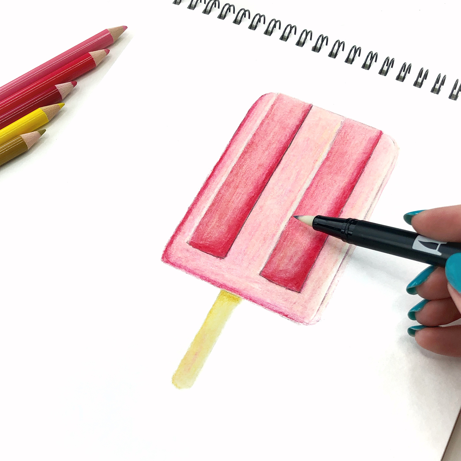 How to Draw a Cute Popsicle Character by Jessica Mack of BrownPaperBunny.