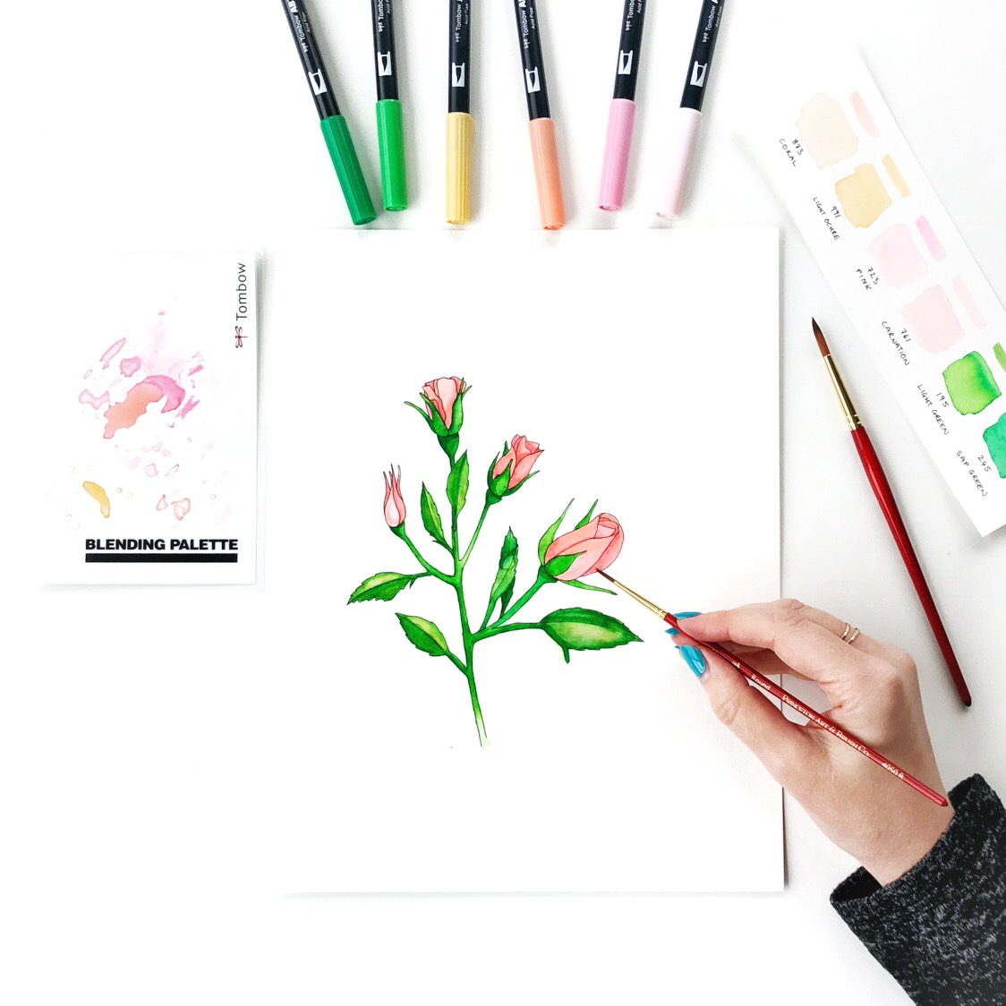 Create Watercolor Flowers Using Markers by Jessica Mack of BrownPaperBunny.