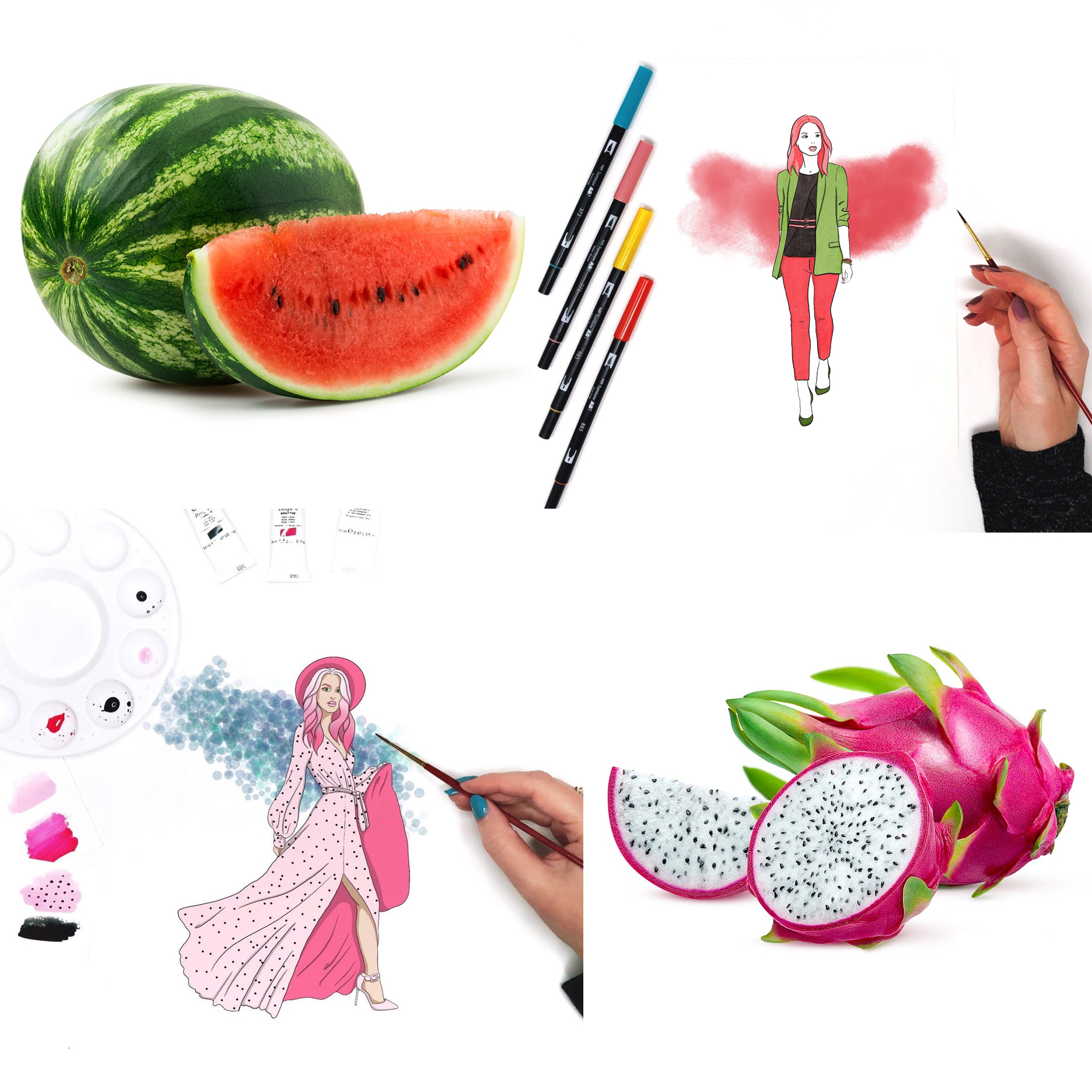 Fashion Illustration Inspired by Food. By Jessica Mack of BrownPaperBunny.