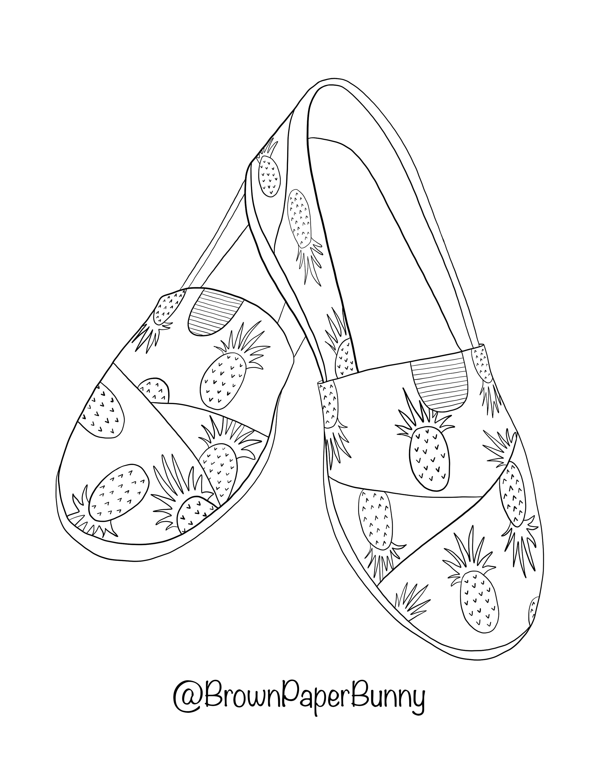 Free Coloring Pages Shoes Brown Paper Bunny Studio