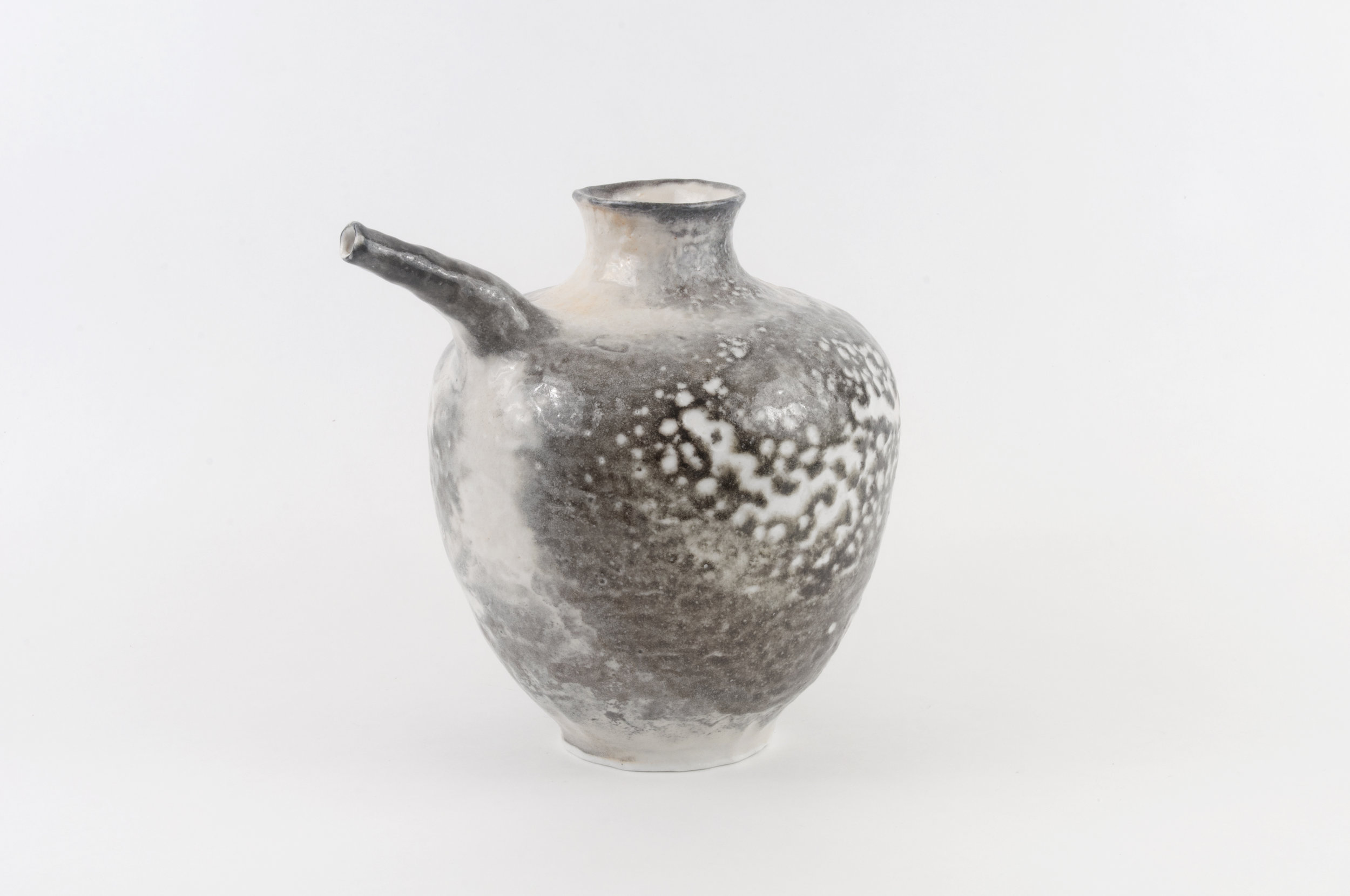 Spouted bottle  Porcelain and shino glaze, 2018