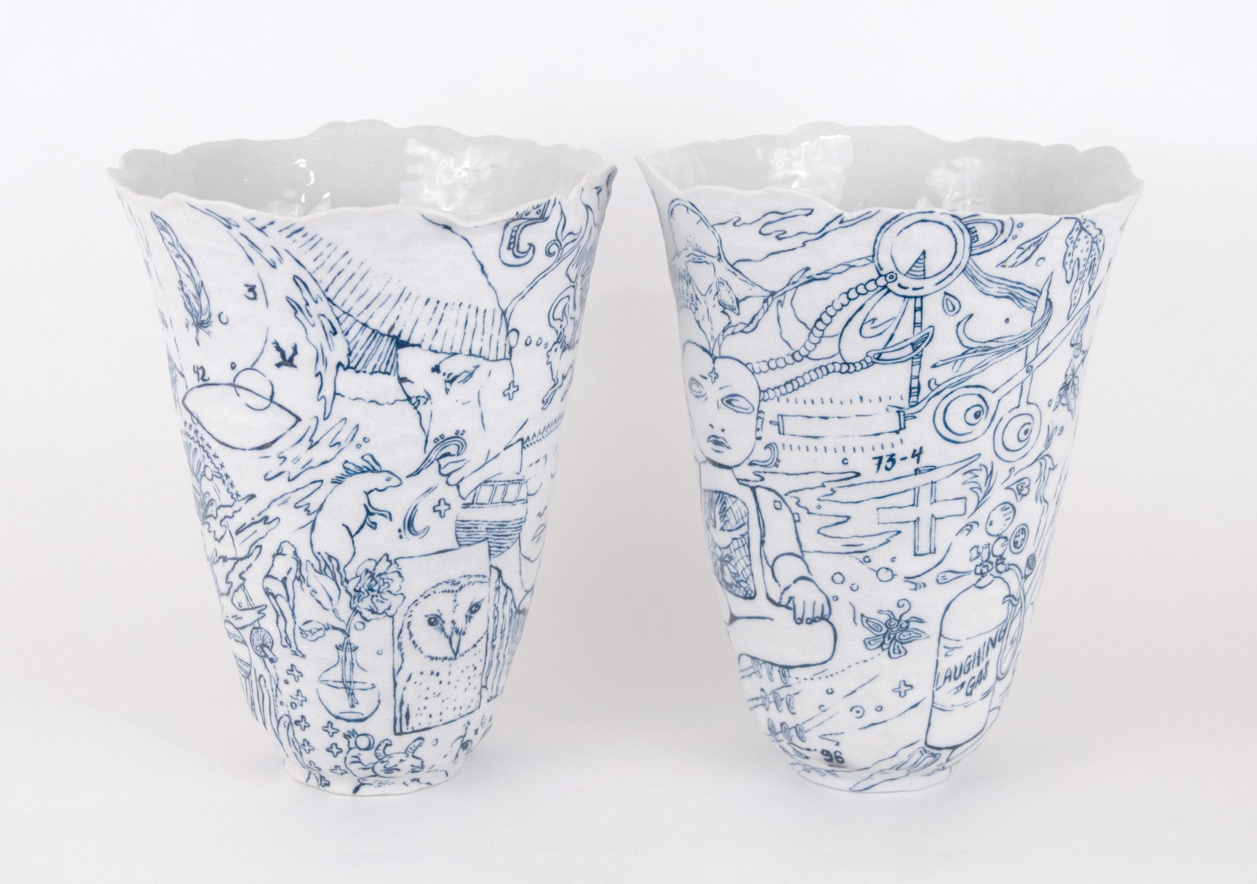 Bottles  Porcelain, glaze, cobalt, 2019