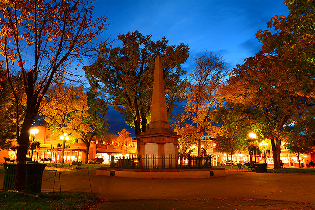 The Beautiful Santa Fe Plaza at night