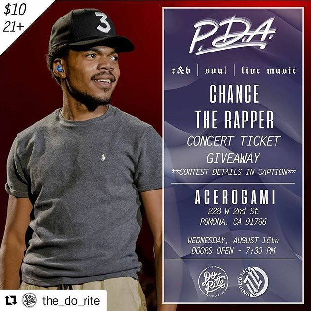 #Repost @the_do_rite ・・・ Follow @the_do_rite and @untldlife, and repost this flyer with the hashtag #PDA816 by 8/14 for a chance to win a pair of tickets to see Chance The Rapper at the Hollywood Bowl this October!! __  Must be present at the event to claim your tickets if you're our winner, or it goes to the next winner in attendance. This venue will reach capacity quickly, so get your tickets today at the link in our bio before it's too late!
