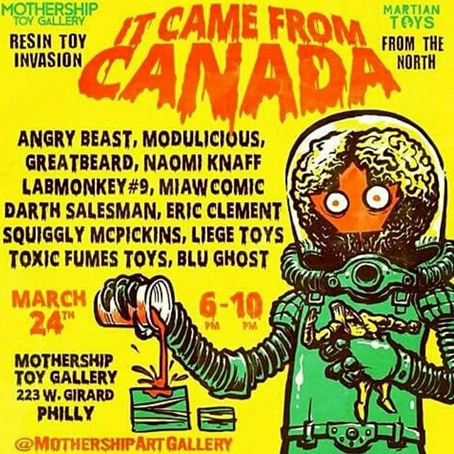 The Canadian resin toy crew ( #toyronto ) is having a show in Philly @mothershipartgallery ! It's an impressive group of artists including most of the line up from last years Action Statue and several new additions. It's curated by @labmonkeynumber9 and @trashbury  Have a great show dudes and dudettes! @greatbeard_sculptures  @modulicious  @miawcomic  @rawzzzy @liege_toys  @squiggly_mcpickins  @darth_salesman  @blughost_productions  @toxicfumestoys @naomiknaff  @theangrybeast @ericclementart