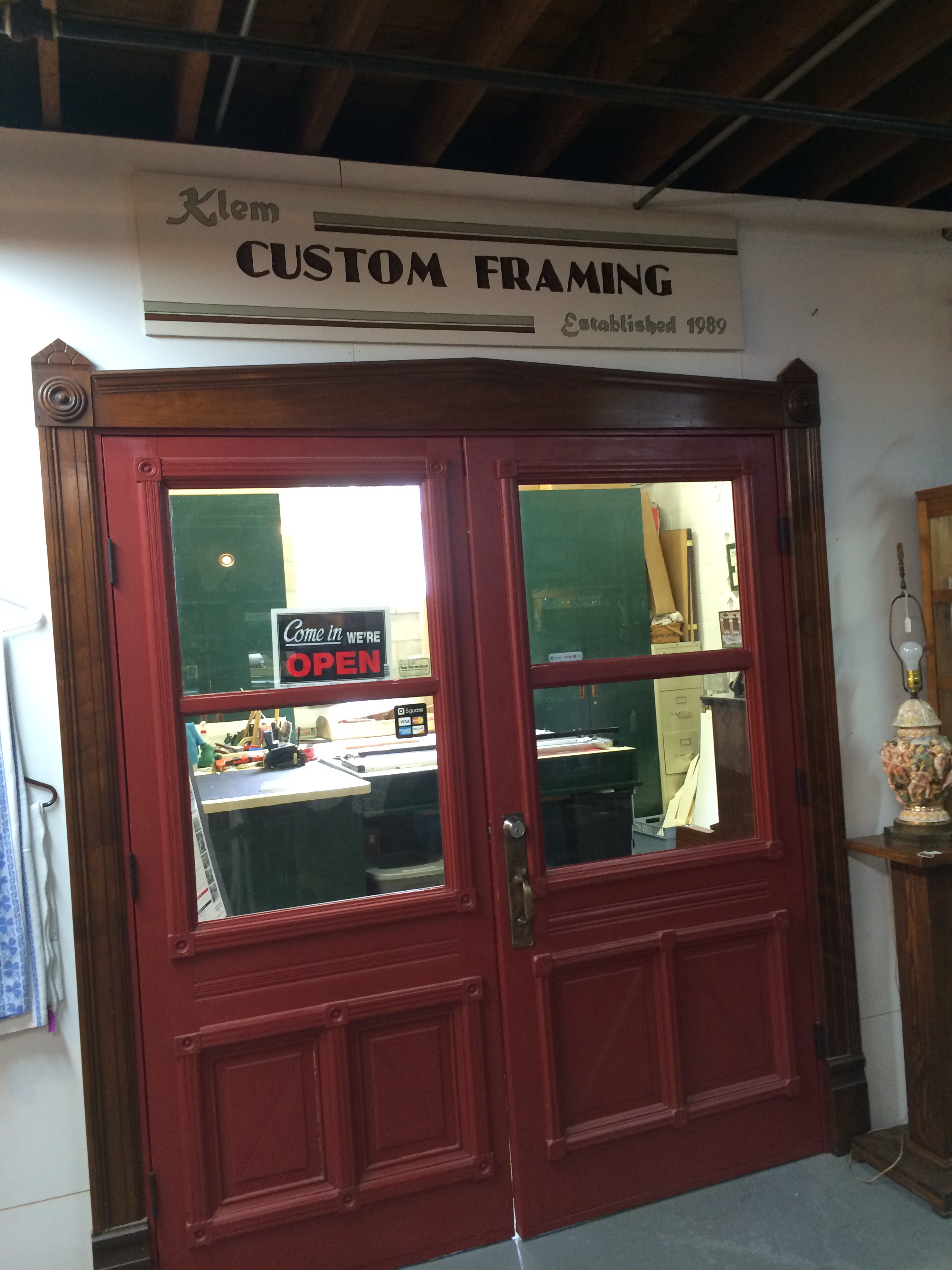 Klem Frame Shop inside the Ferdinand Antique Emporium at 1440 Main Street, Ferdinand, IN