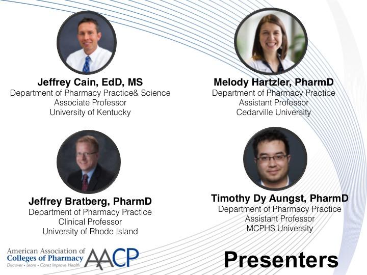 Presenters for the TiPEL Webinar on Social Media and Pharmacy Academia