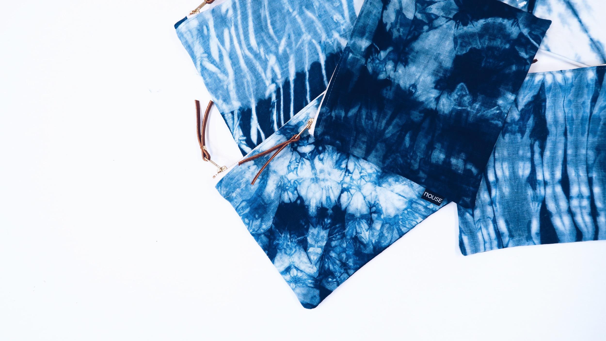 Shibori-Zipper-Pouch