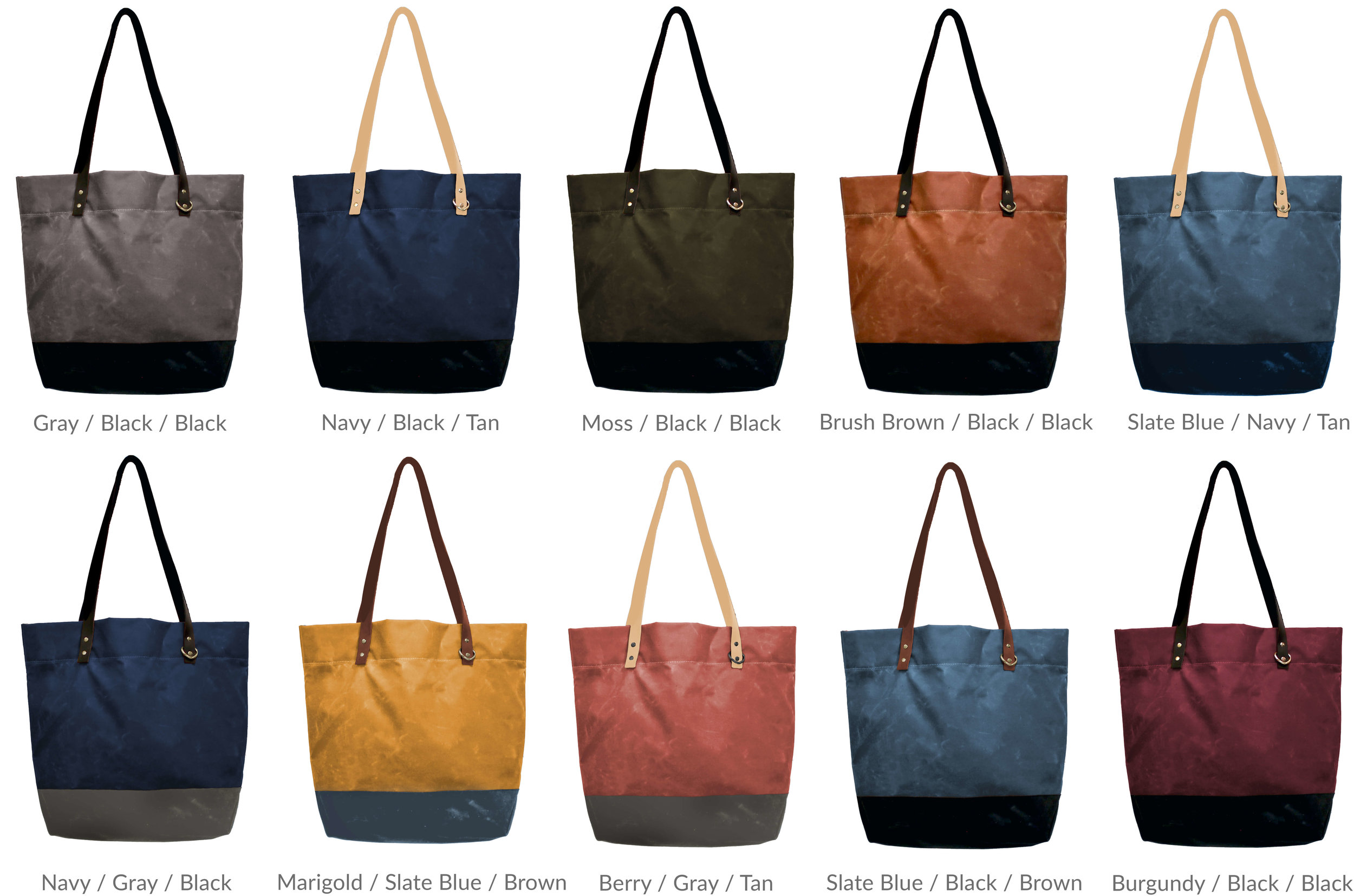 Portsmith Tote Waxed Canvas & Leather Suggested Color Combinations