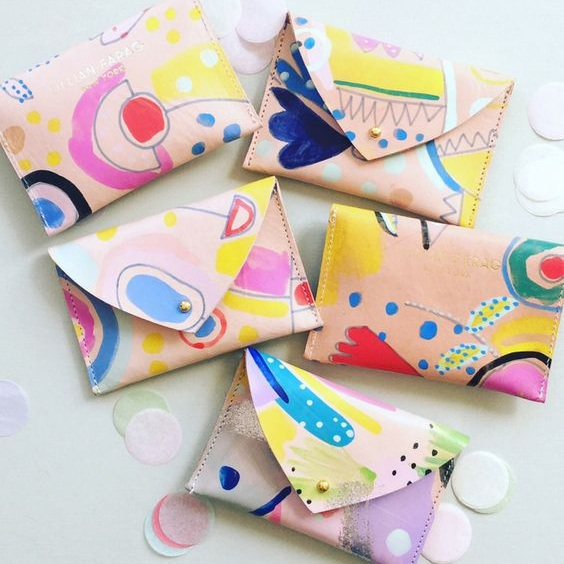 Painted Leather Wallets by Lillian Farag