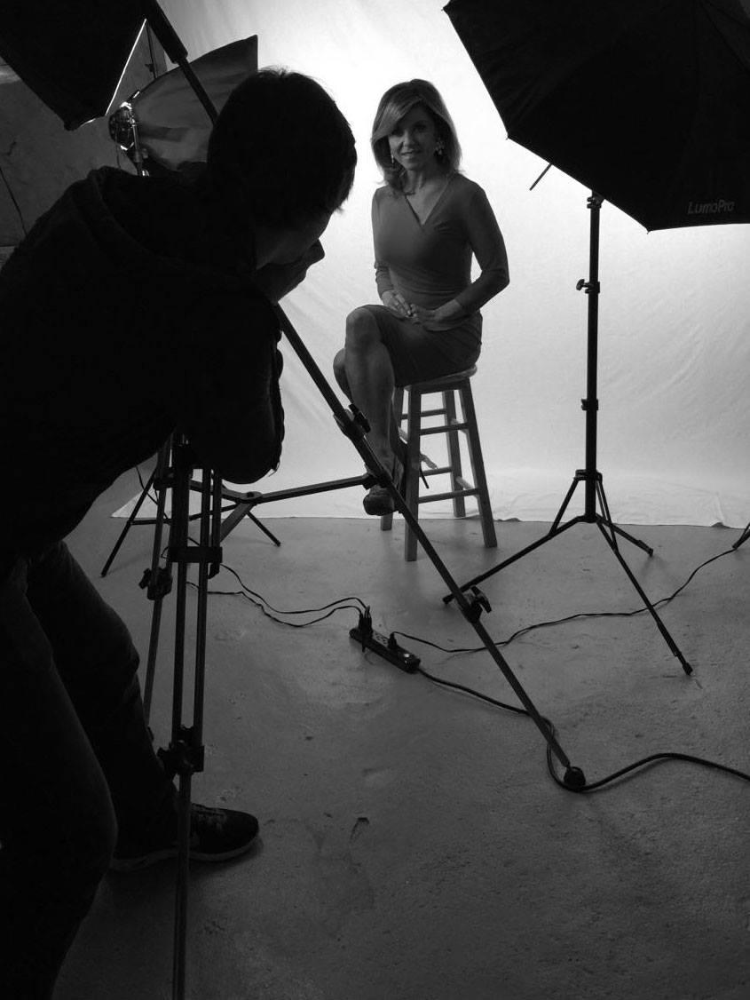 Behind the scenes in the studio.