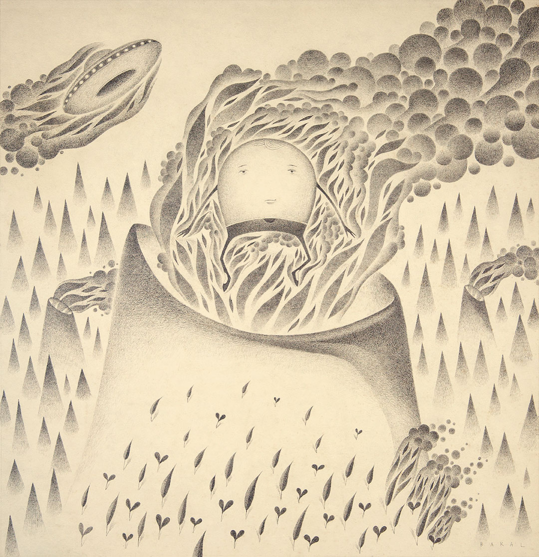 """Dim Stars: From The Core (Fire)   15"""" x 15.5""""   Graphite on Vintage Paper"""
