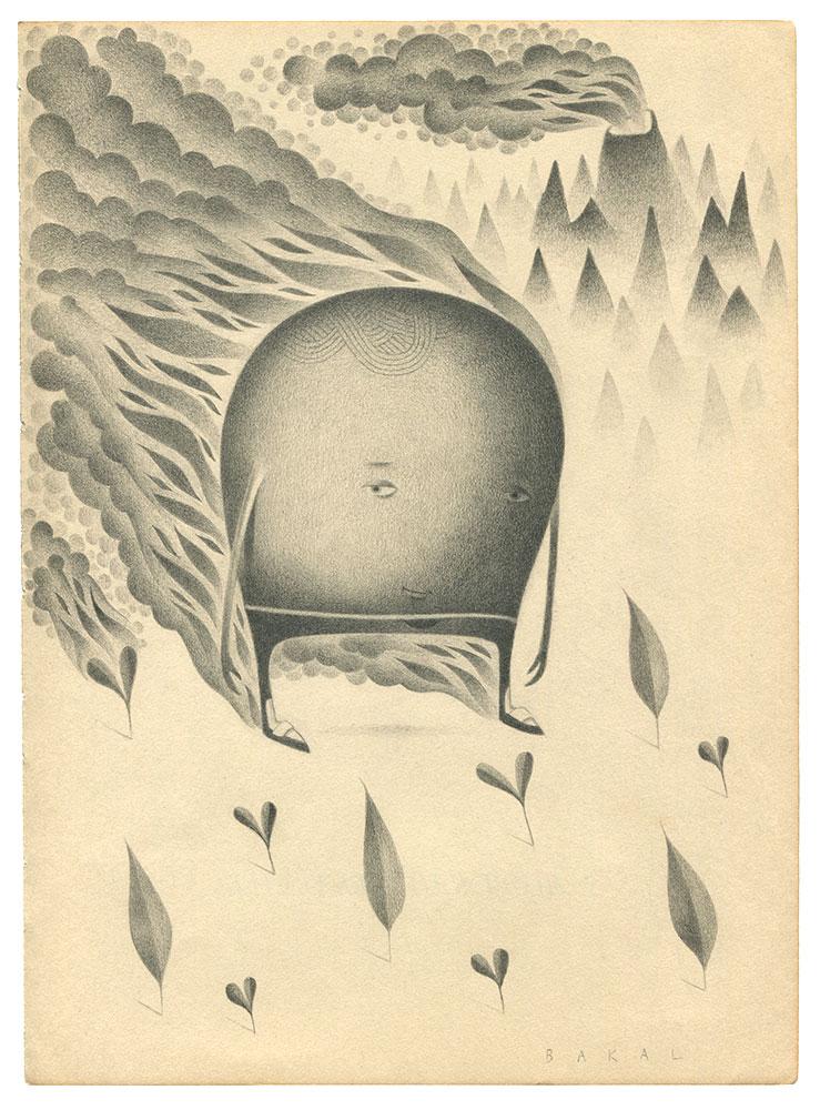 "Dim Stars: Sly (Fire)   8.5"" x 11""   Graphite on Vintage Paper"
