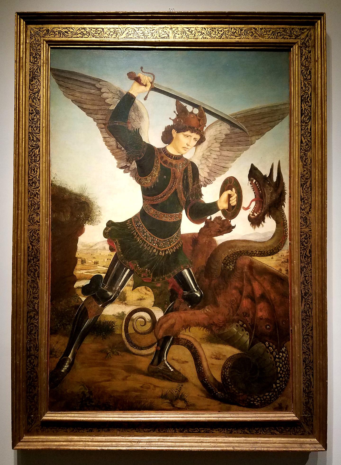 Antonio del Pollaiuolo - St. Michael the Archangel Killing the Dragon, 1465-70