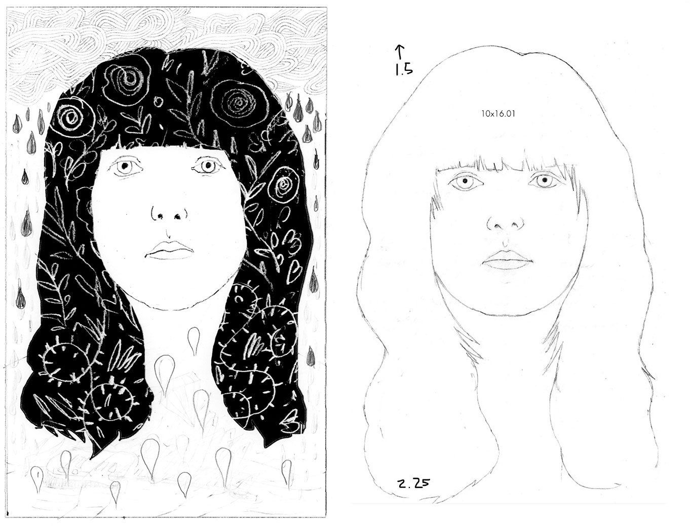 Left: Rough Sketch :: Right: Final Sketch