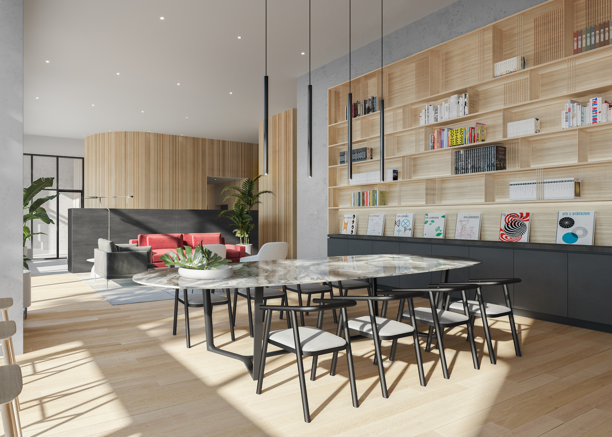 Junction House's amenities include an open lobby that functions as a co-working space.