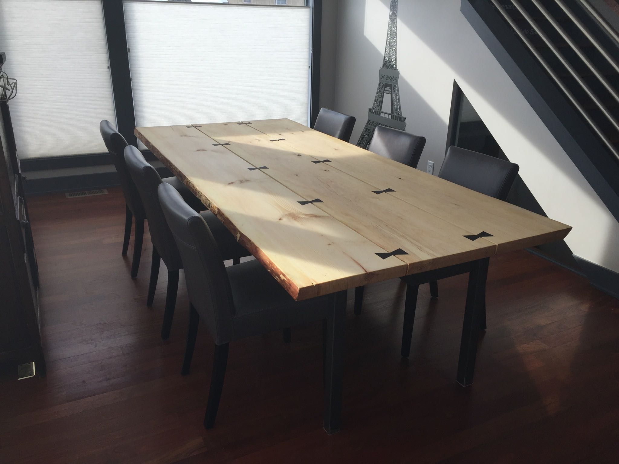 White pine live edge slab table with wedge butterflies