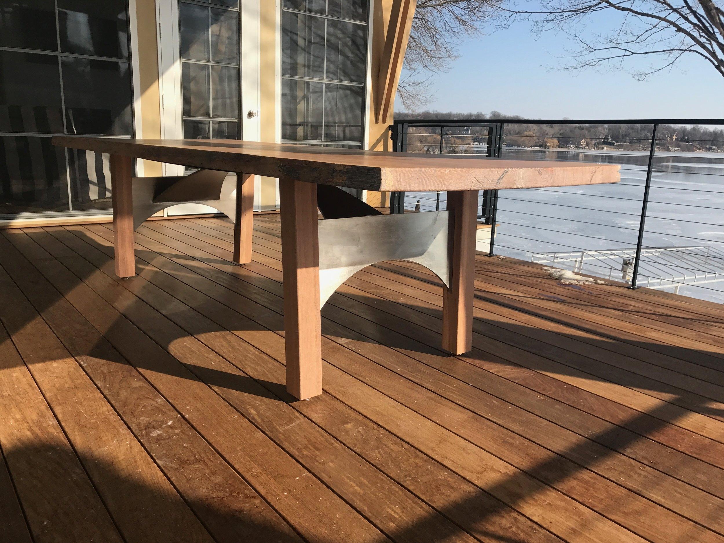 Bleached live edge white oak table