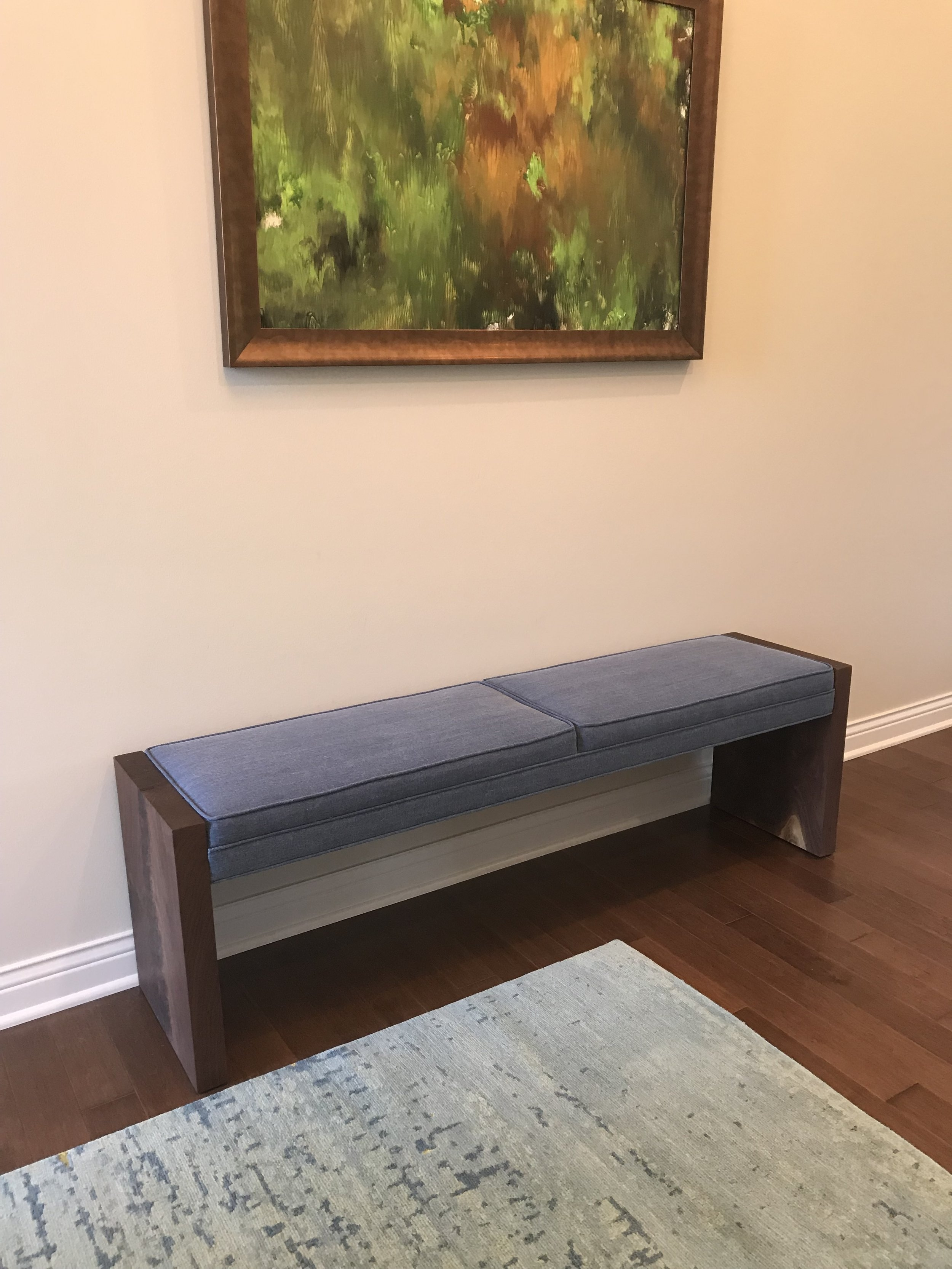 Walnut and Upolstered Bench