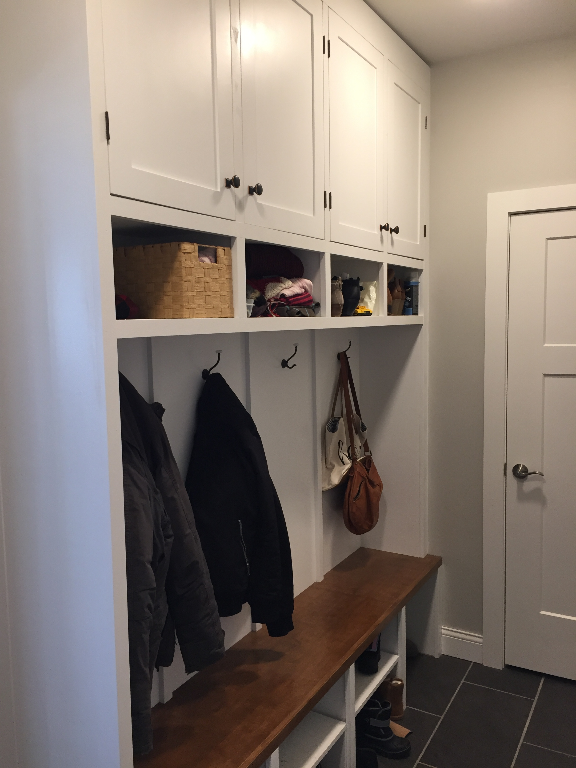 Custom mudroom locker builtin