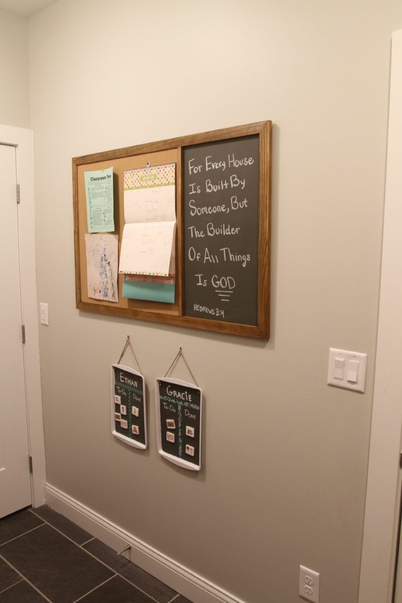 Custom Cork and Chalkboard for our Mudroom wall.