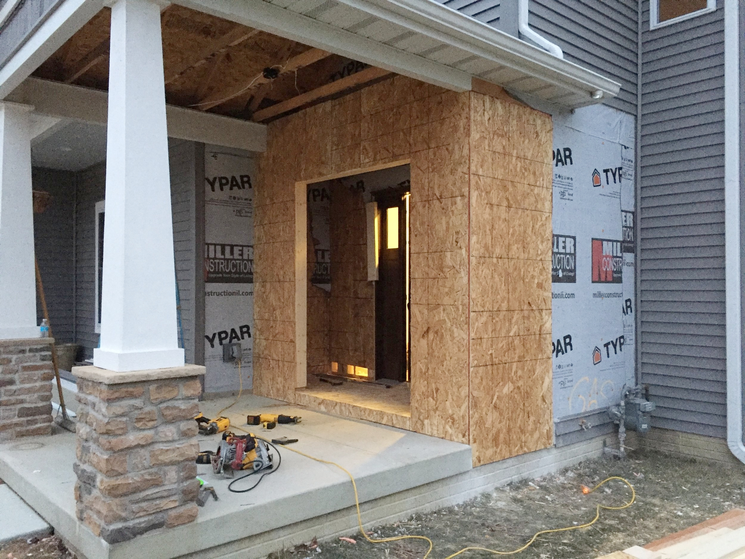 Attached the OSB to the framing to extend the front entryway