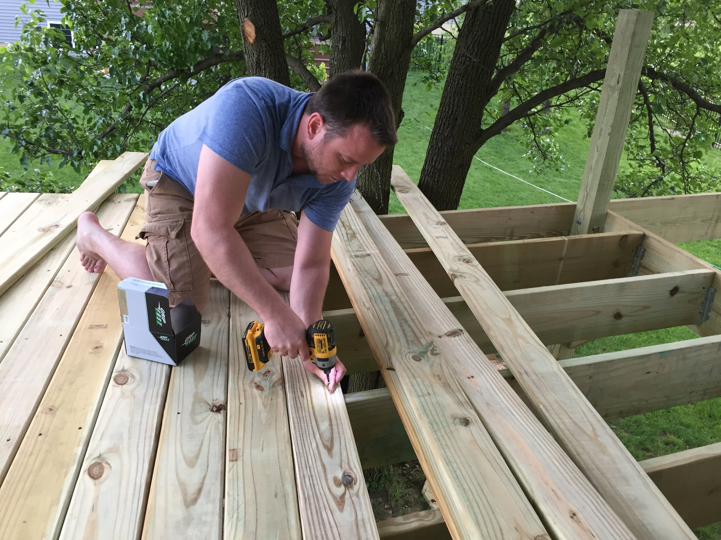Screwing in the deck screws