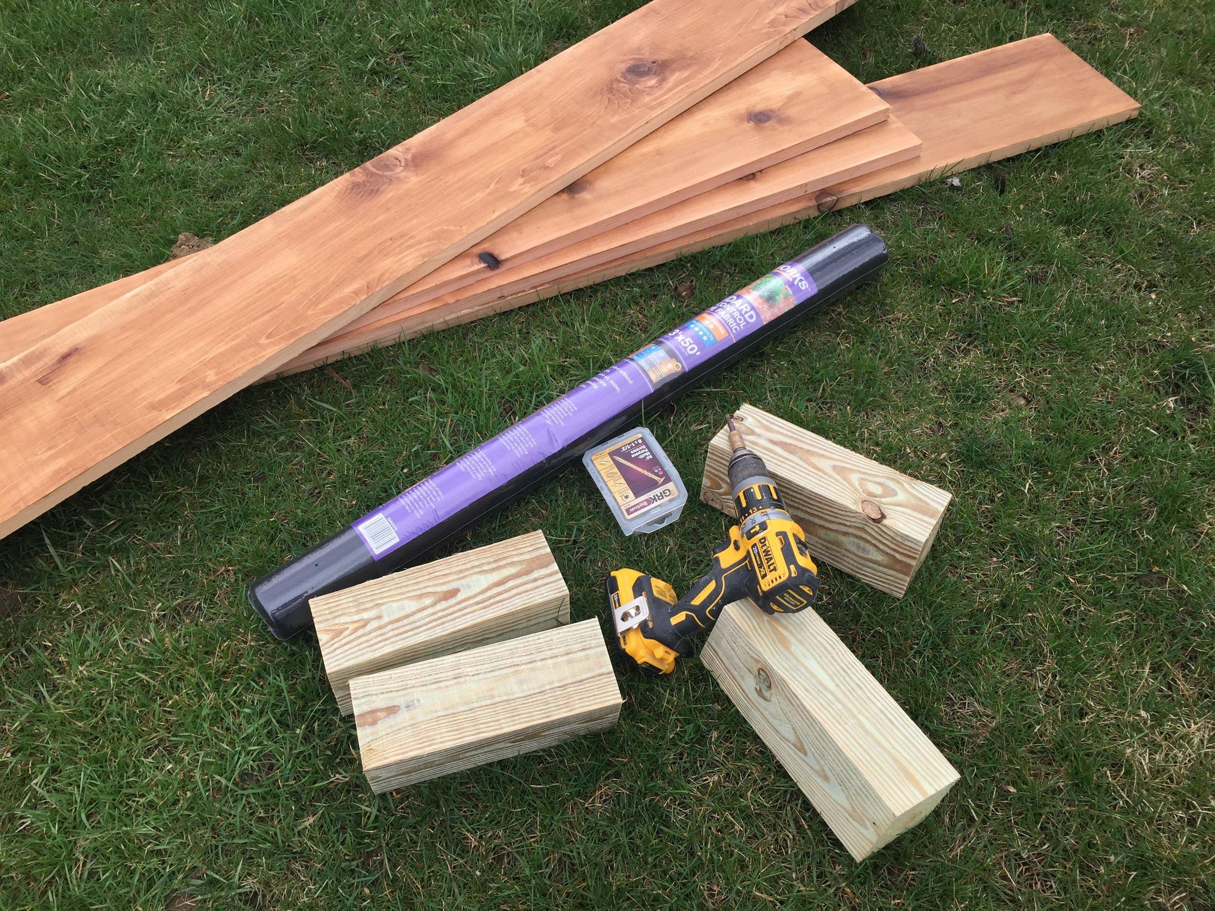Prepped materials for installation of the cedar garden box