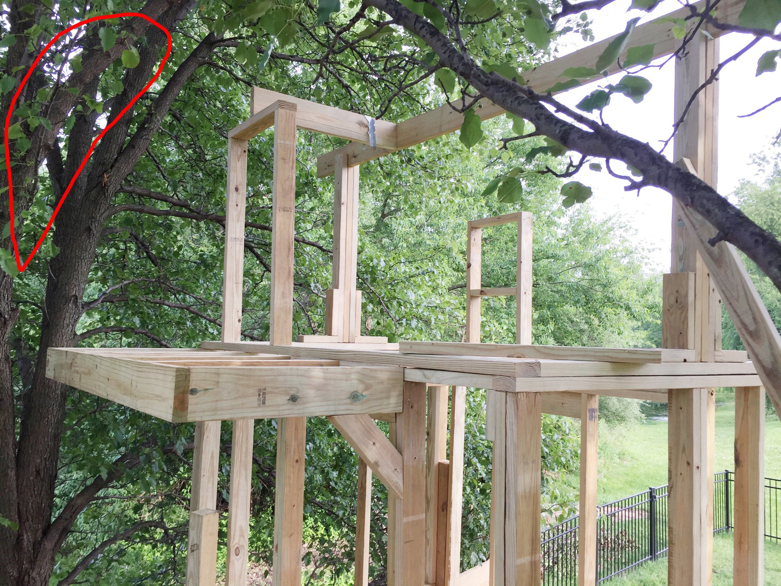 Treehouse balcony and branch issue