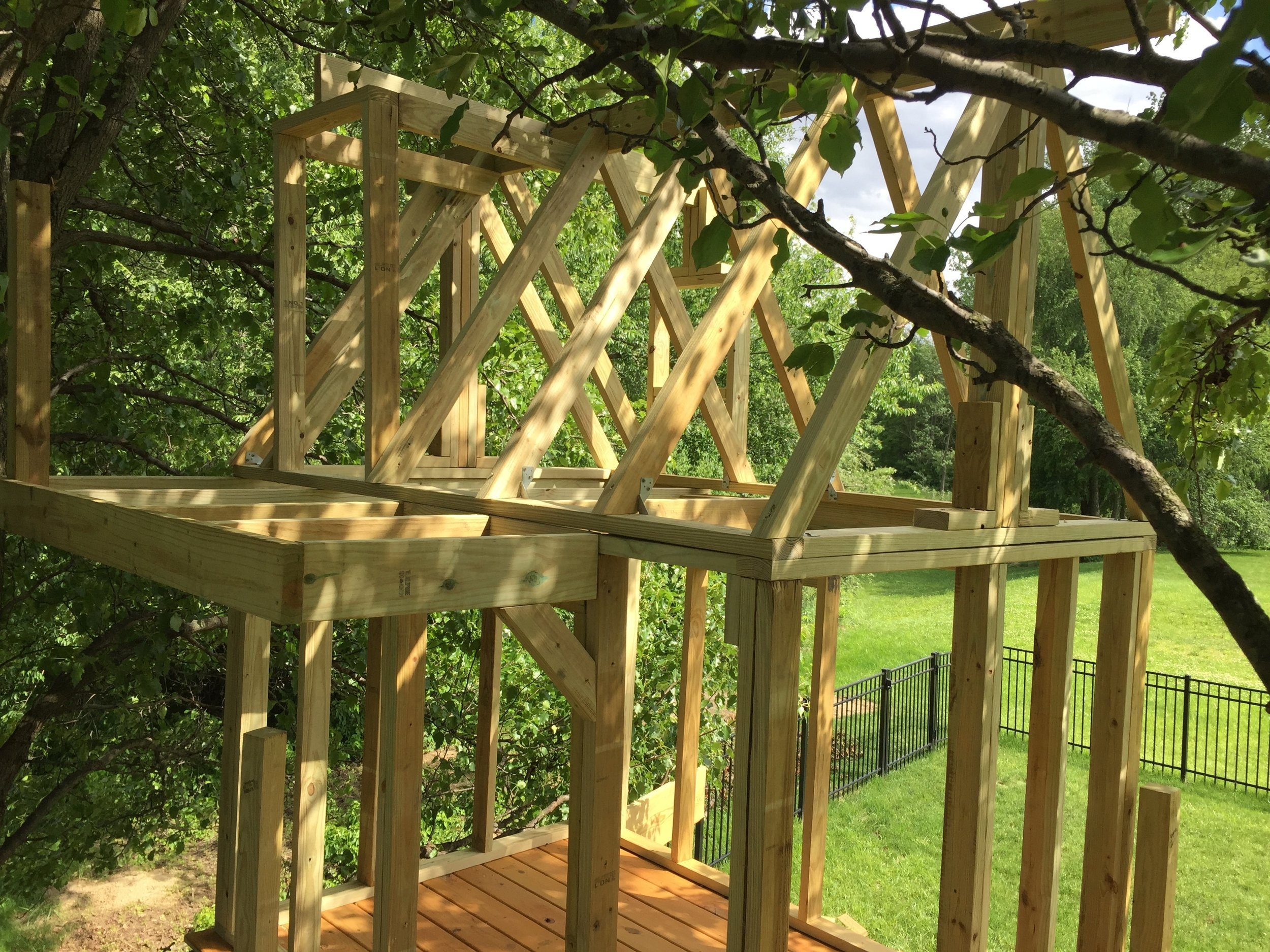 Treehouse Roof is Framed.