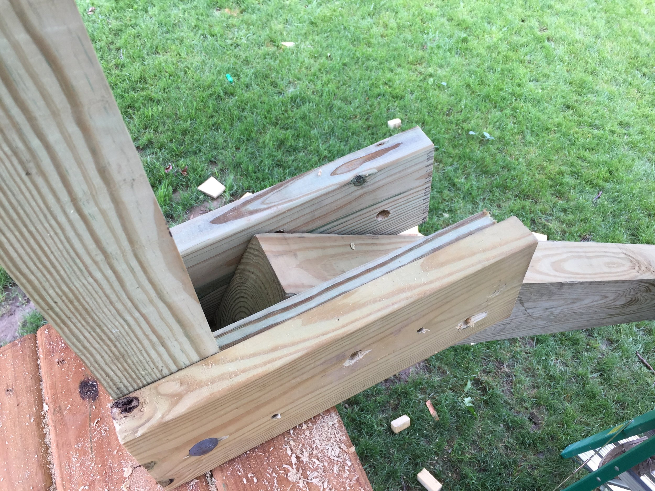 Custom Bracket for attaching the 4x6 beam to the treehouse platform