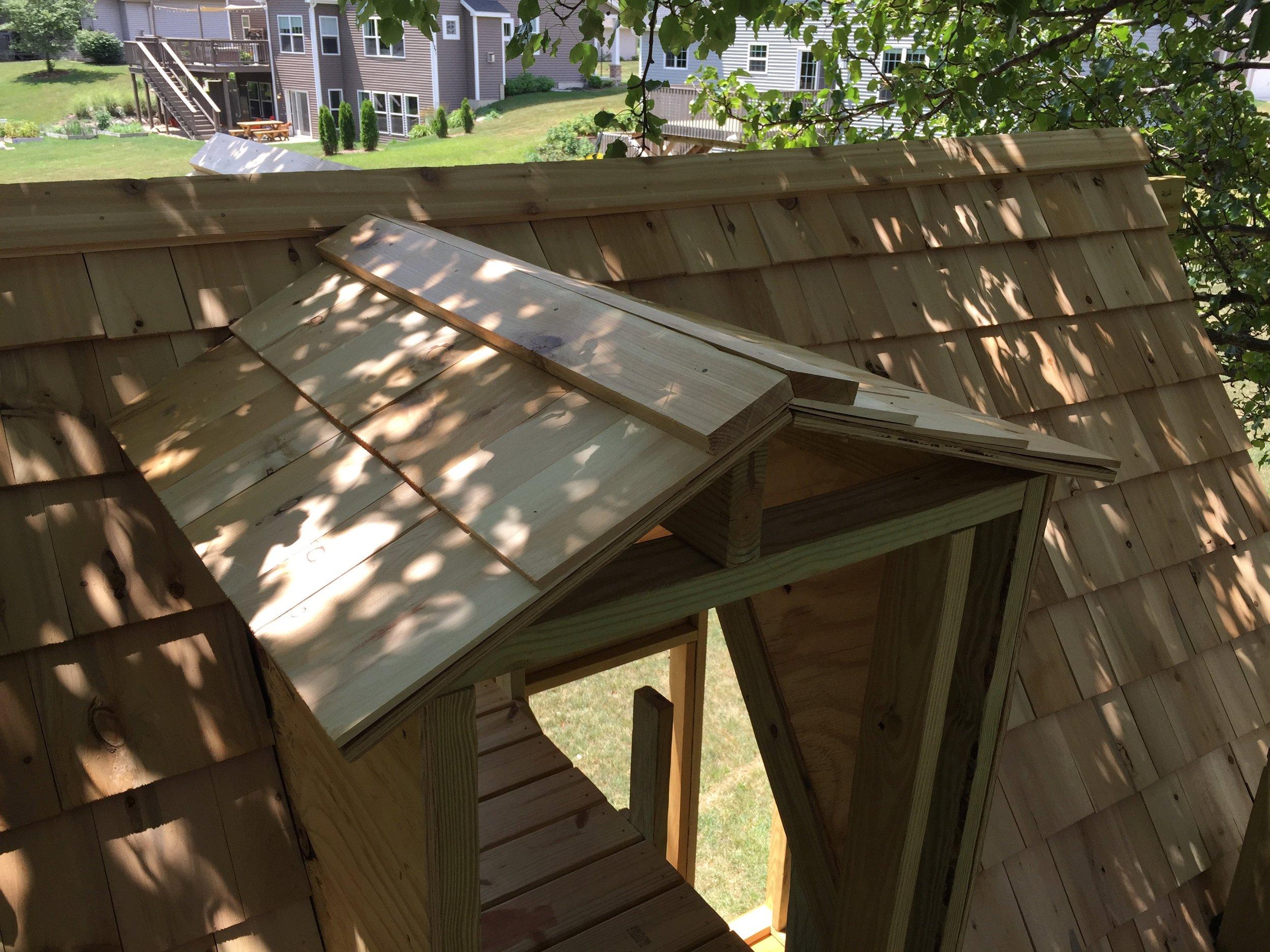 Cedar Shingles and Cedar Roof Cap on a Treehouse Clubhouse