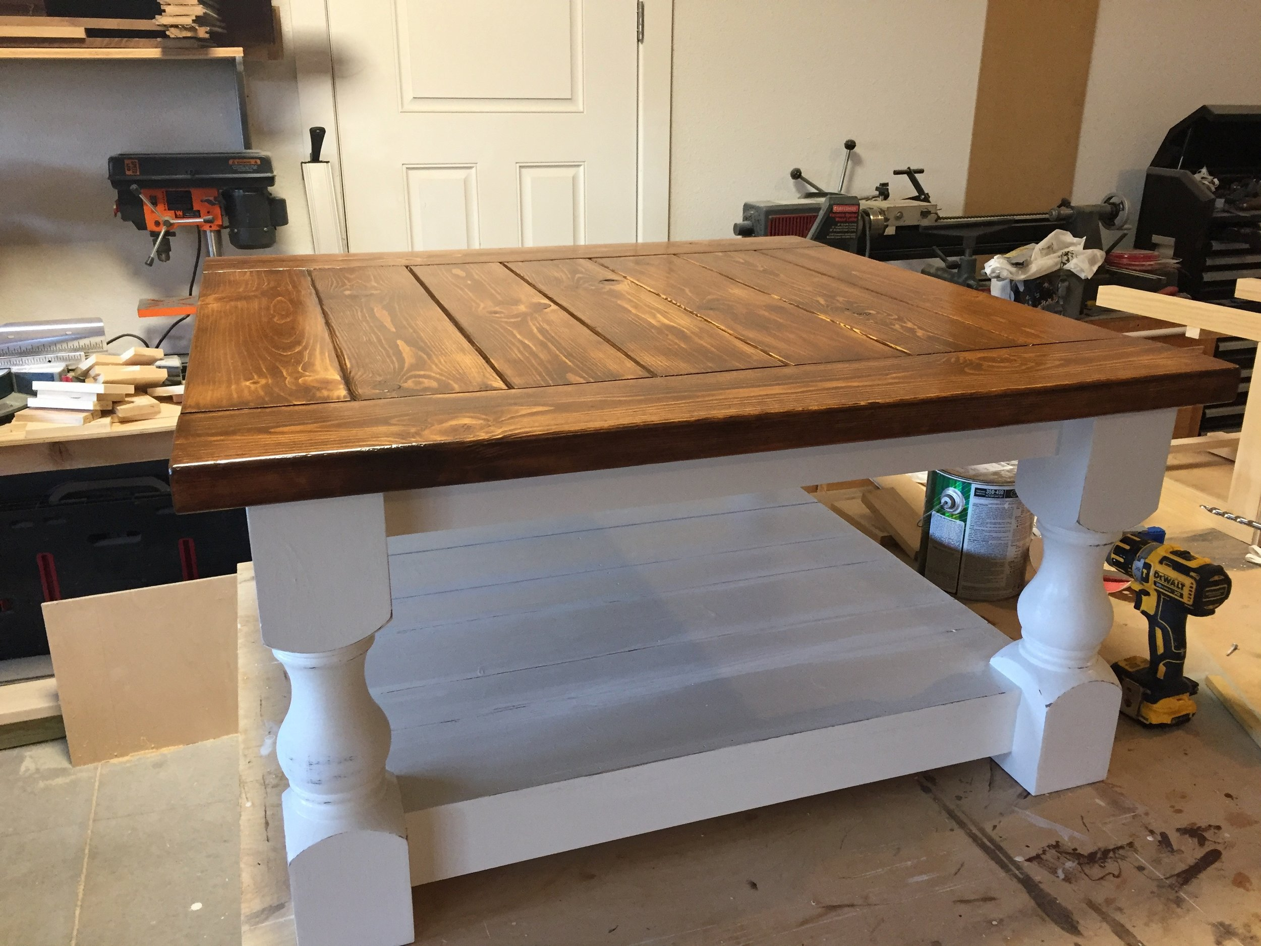 The coffee table is complete and sitting in my garage