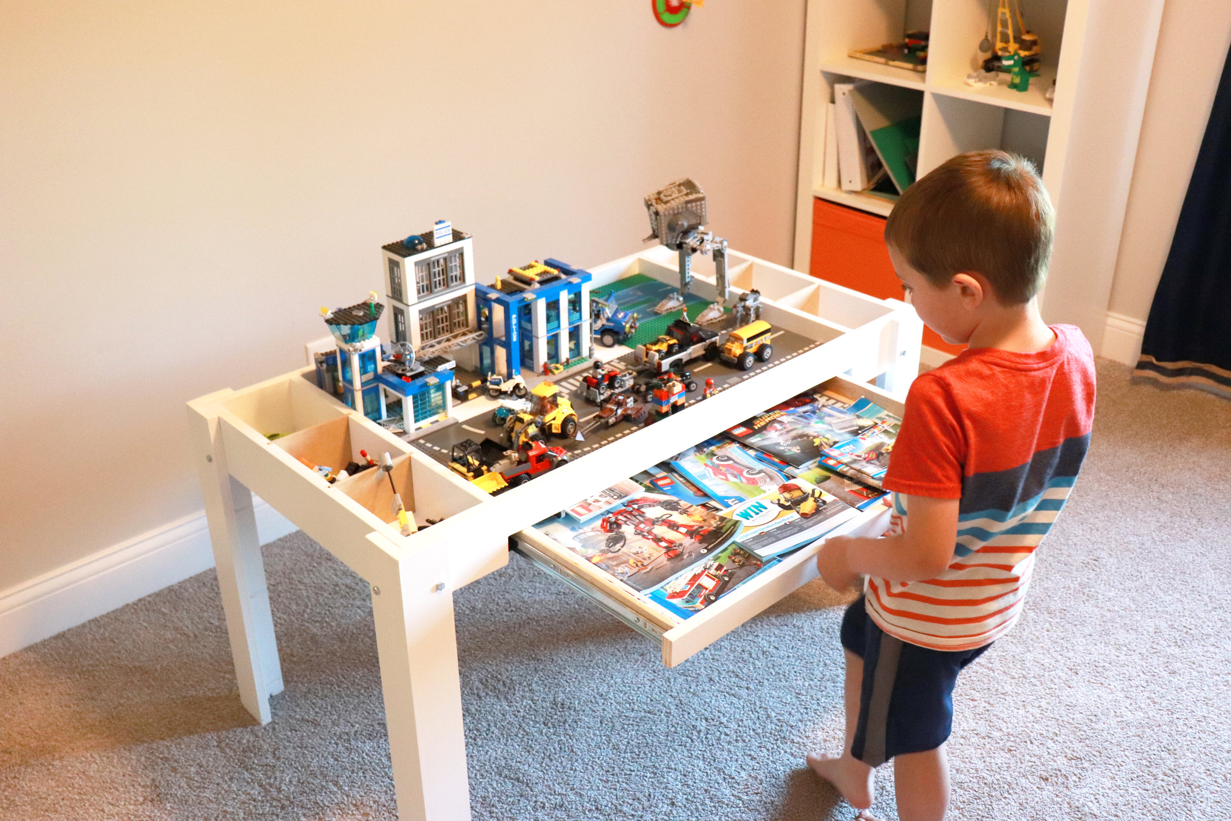 White Lego Table With Storage Divider and Hidden Tray for all your Lego Instructions Woodworking - Philip Miller Furniture - Etsy