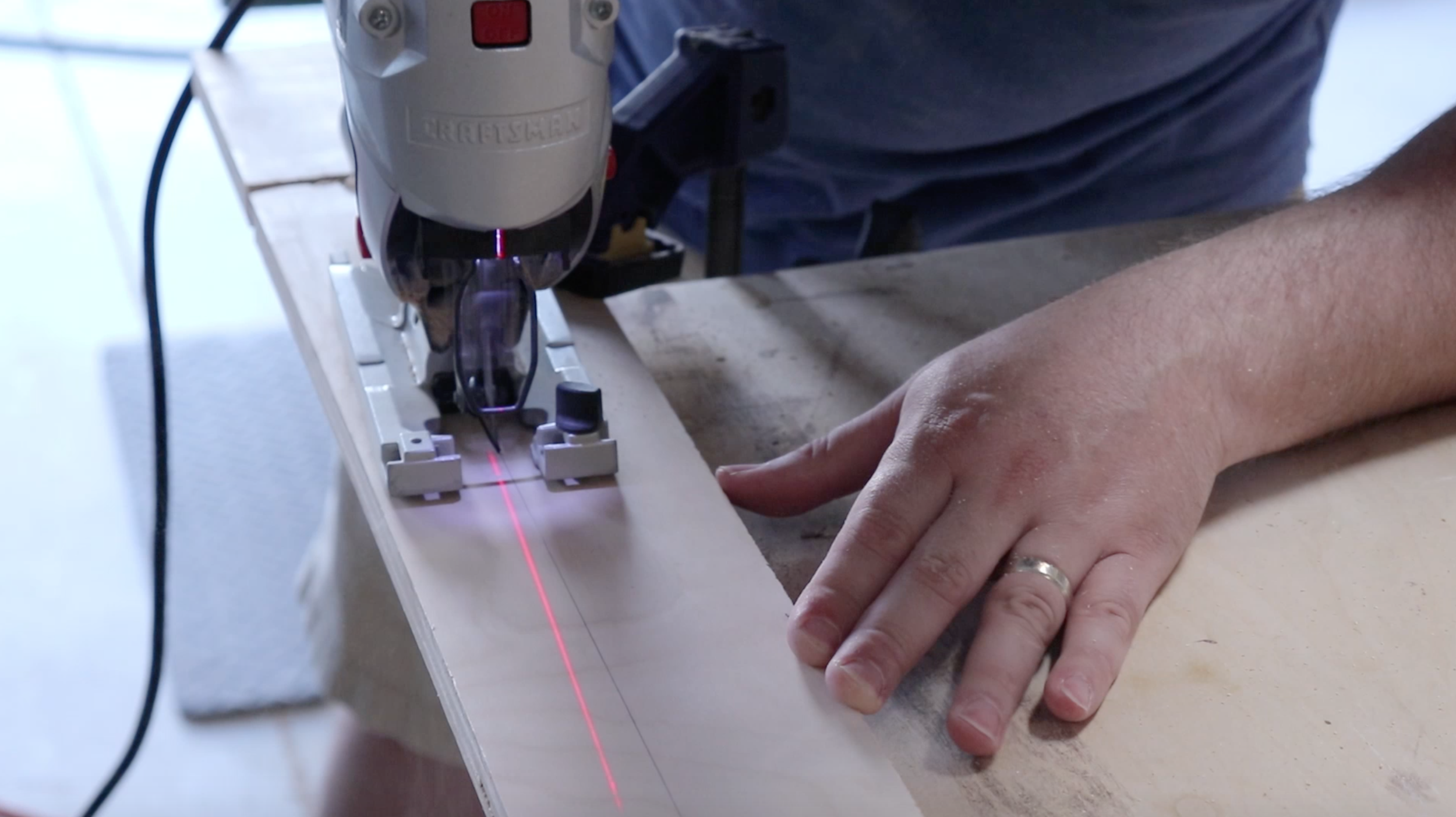 Cutting the opening for the Lego instruction drawer for the Lego table - Philip Miller Furniture - Etsy
