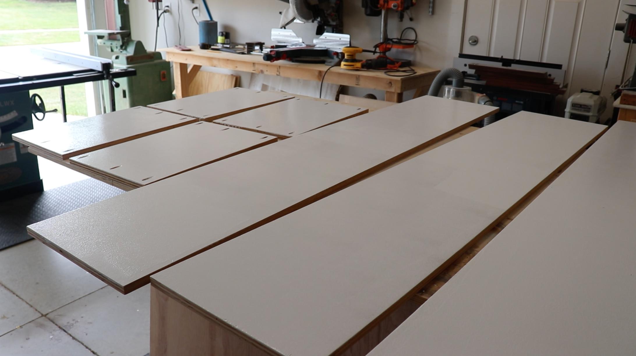 Painting Custom Closet Shelves - Birch Plywood