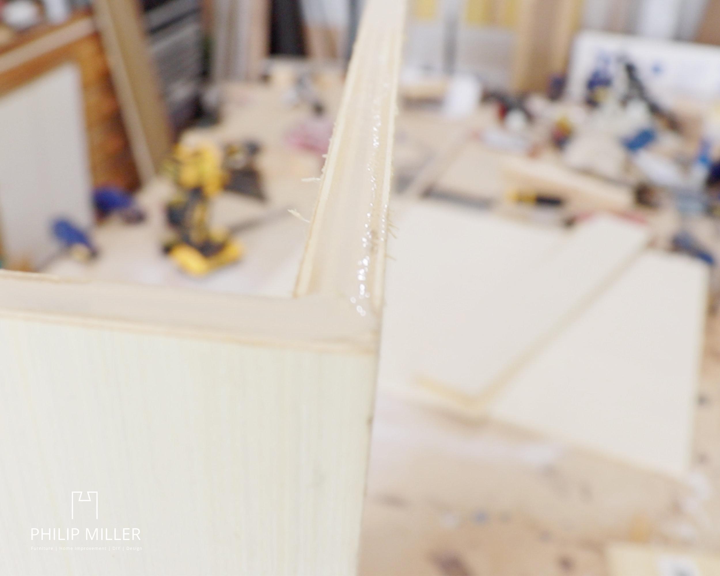 Titebond® glue on half inch plywood on a work bench