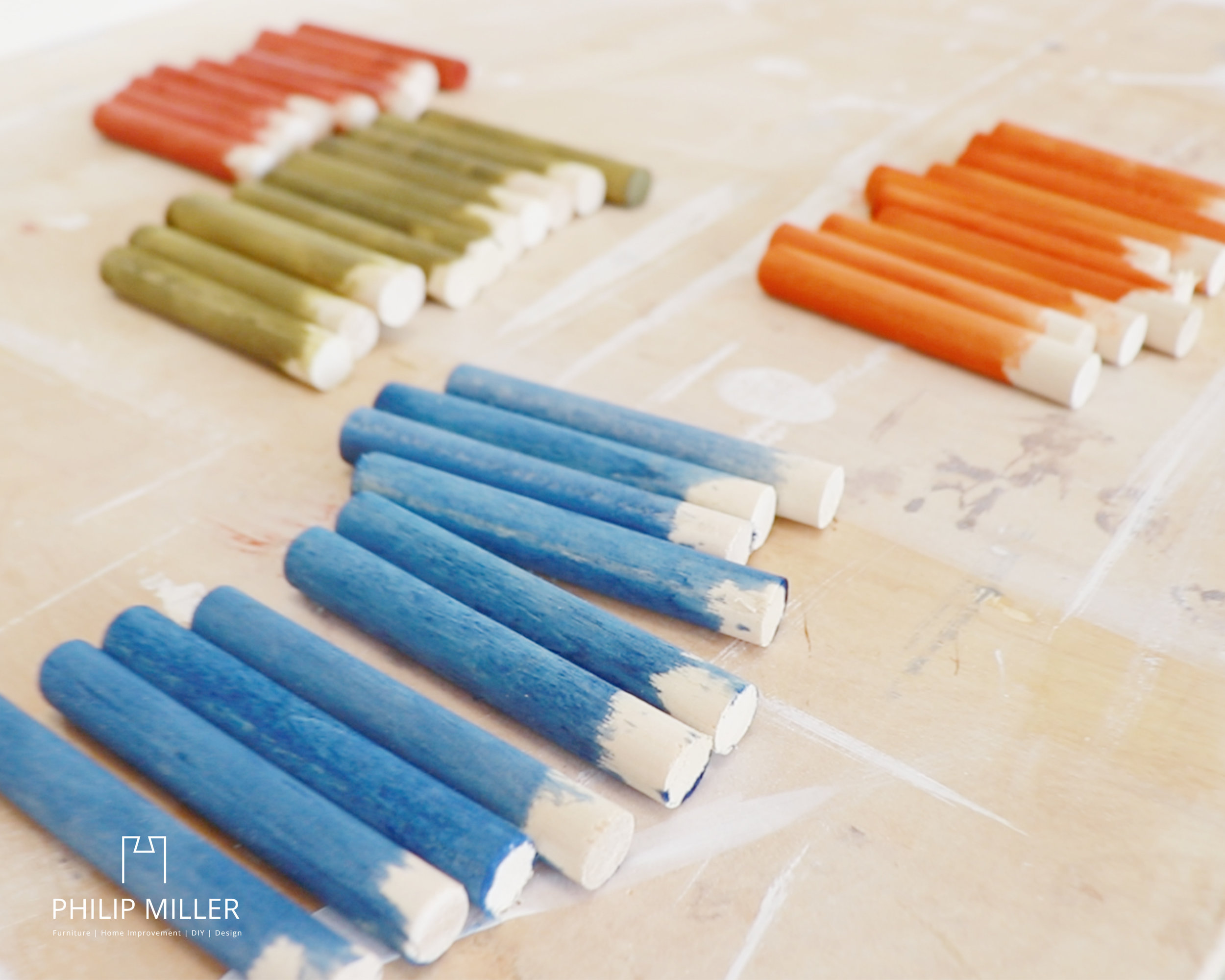dye stained wooden dowels red green blue orange general finishes