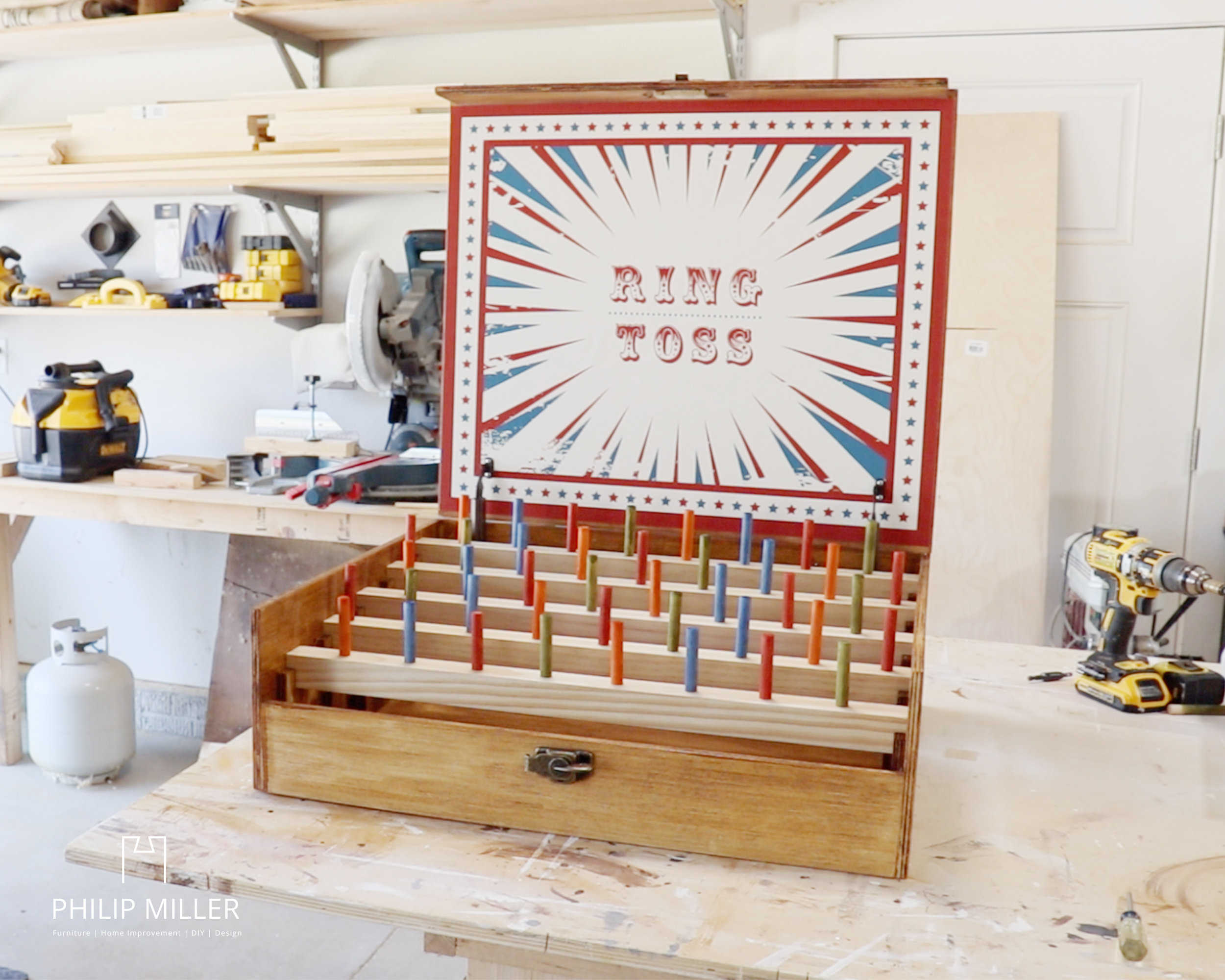 vintage carnival ring toss game on my work bench