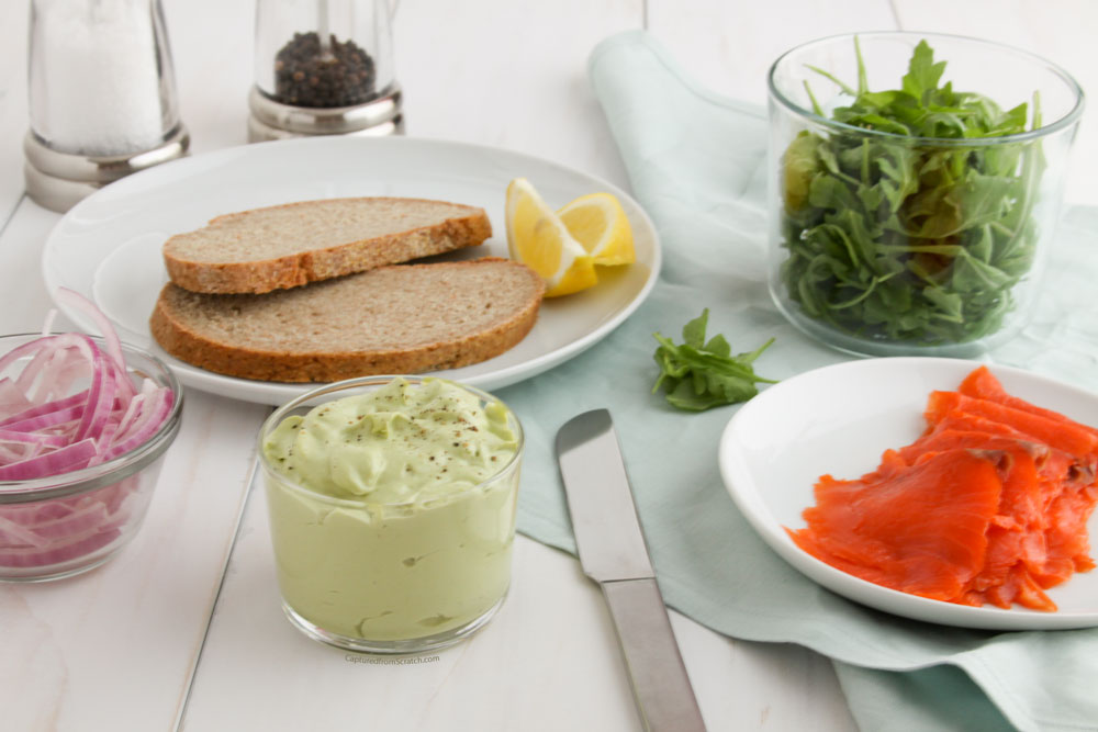 Salmon on Rye with a Creamy Avocado & Mustard Spread