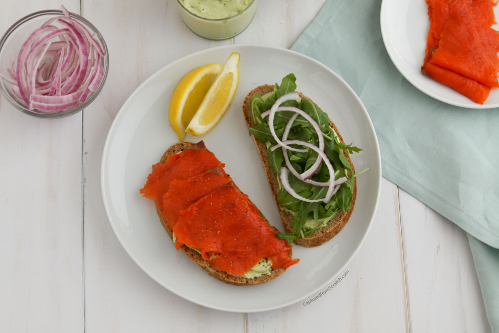 Salmon on Rye with a Creamy Avocado & Mustard Spread