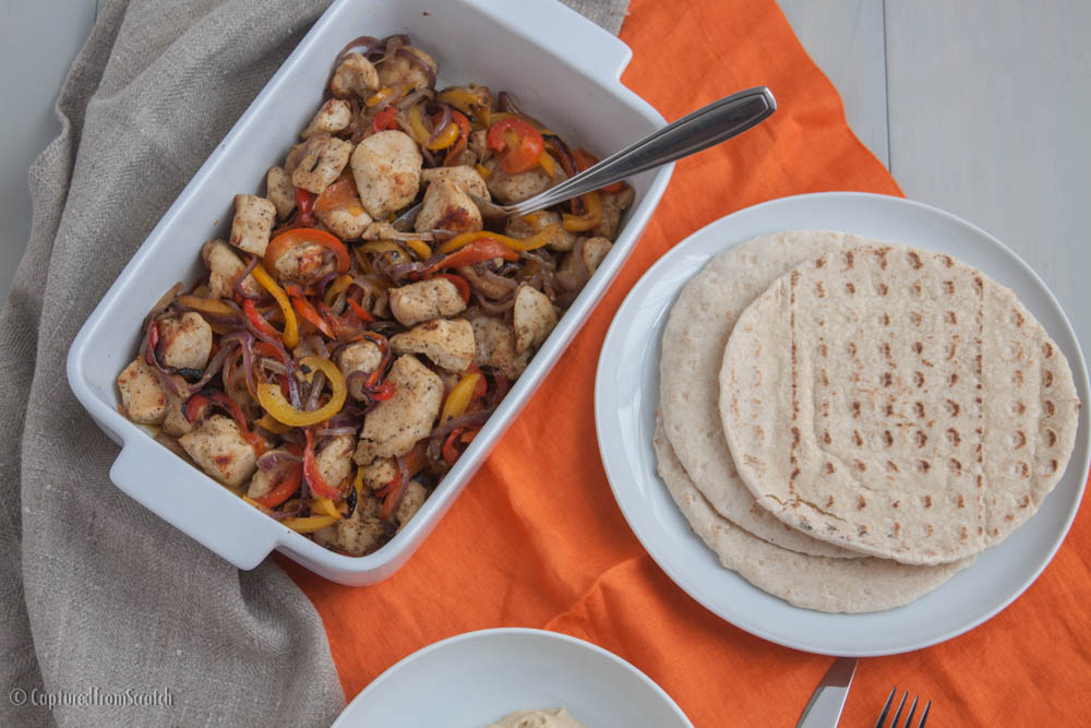 Broiled Chicken & Peppers with Hummus