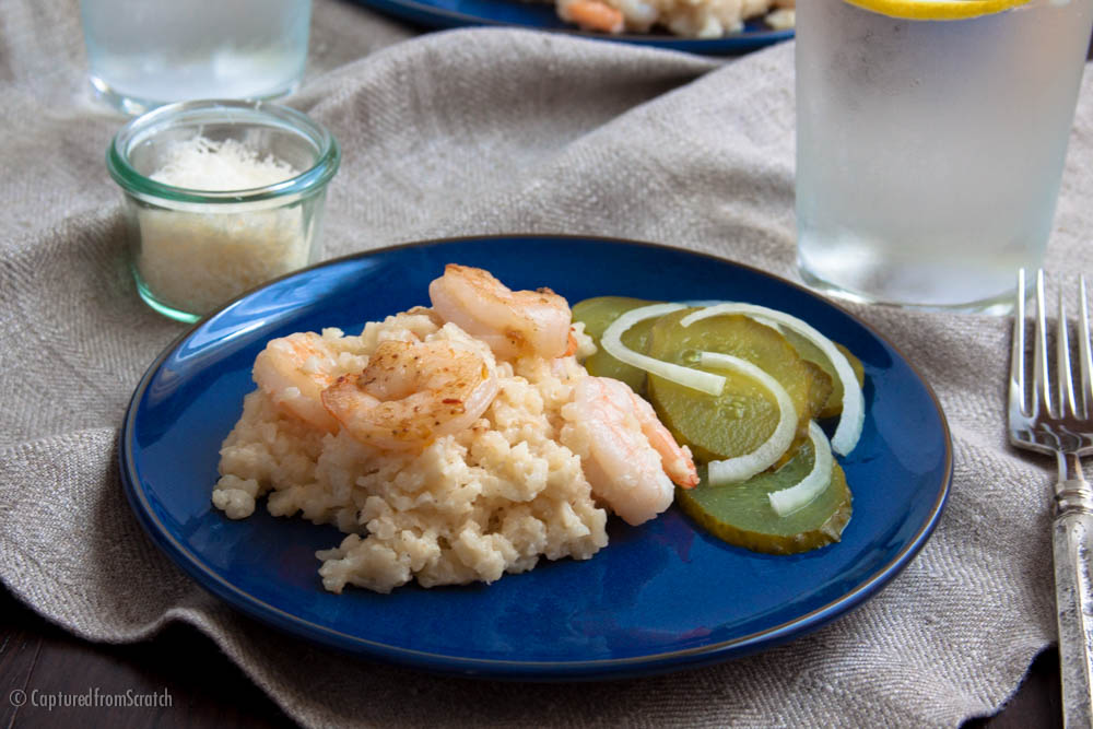 Baked Parmesan Risotto with Garlic Shrimp