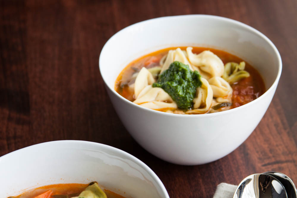 A Hearty Minestrone with Cheese Tortellini