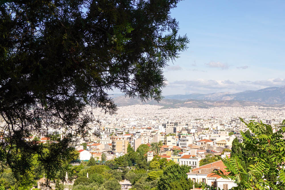 A view of Athens from the foothill of the Acropolis.